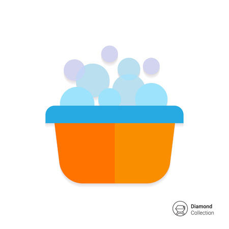 basin: Vector icon of yellow plastic basin with foam and bubbles Illustration