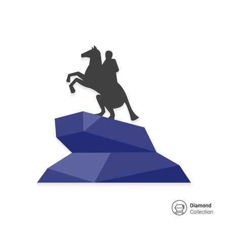 horseman: Multicolored vector icon of Bronze Horseman statue Illustration