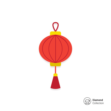 chinese lantern: Vector icon of red Chinese lantern with tassel Illustration