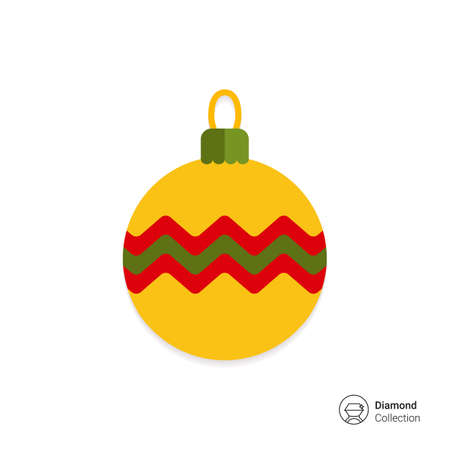 green yellow: Vector icon of yellow Christmas ball with line ornament