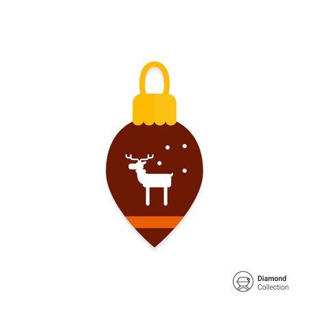 glass christmas tree ornament: Vector icon of brown Christmas tree ornament with reindeer silhouette Illustration