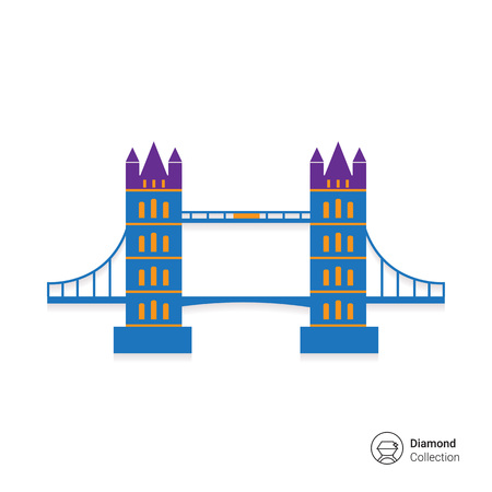 london bridge: Multicolored vector icon of famous London Bridge