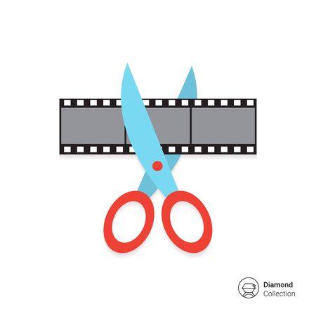 tijeras: Vector icono de tijeras de corte película rodada Vectores