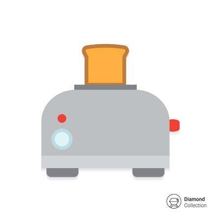 Vector icon of kitchen toaster with bread slice