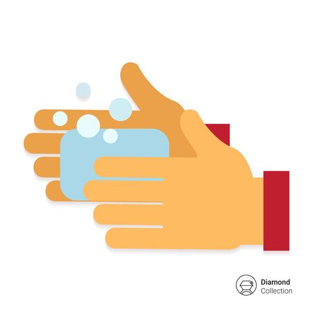 jabon: Icono del vector de la mano del hombre se lava con jab�n