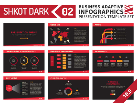 swot: Set of editable multicolored infographic presentation template with graphs and charts on black background
