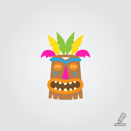 maschera tribale: Vector icon of African wooden tribal mask Vettoriali