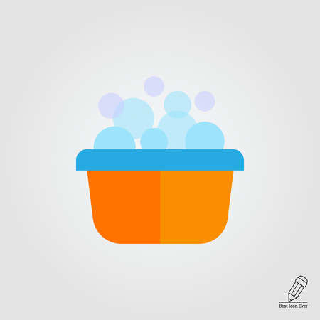bacia: Vector icon of yellow plastic basin with foam and bubbles Ilustra��o