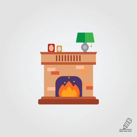 cosy: Vector icon of brick fireplace with flame decorated with photo frames and lamp