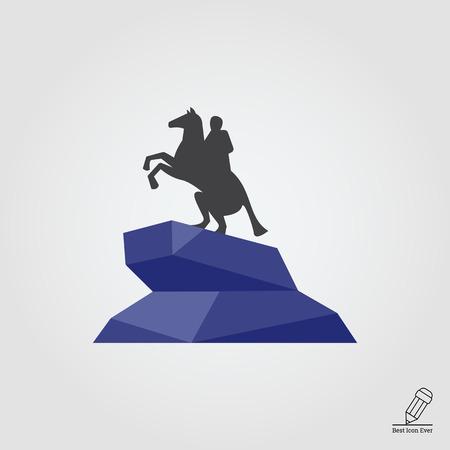 horseman: Multicolored vector icon of Bronze Horseman statue Vectores