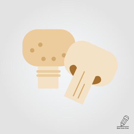stipe: Vector icon of champignon and cut champignon half