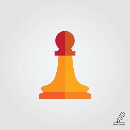 Multicolored vector icon of orange chess pawn Illustration