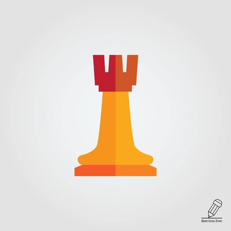 chess rook: Multicolored vector icon of orange chess rook Illustration