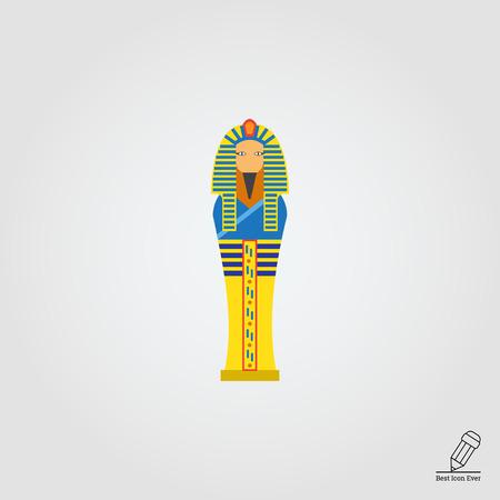 egyptian culture: Vector icon of golden Egyptian pharaoh sarcophagus