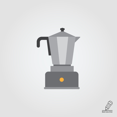 coffee maker: Vector icon of espresso coffee maker with metal jar