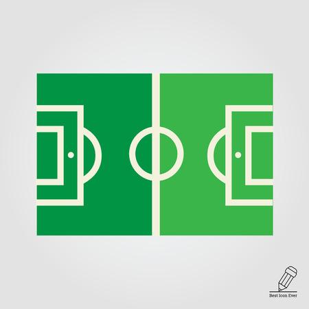 terrain football: Vector icône du terrain de football vert avec marquage