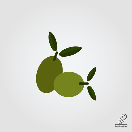 oily: Vector icon of two green olives on stem with leaves Illustration