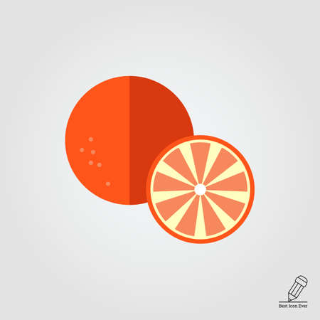 orange cut: Vector icon of orange and cut orange half Illustration