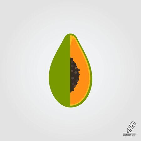 papaya: Vector icon of green cut papaya fruit