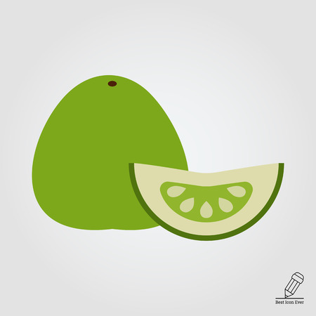rational: Vector icon of green pomelo and pomelo slice Illustration