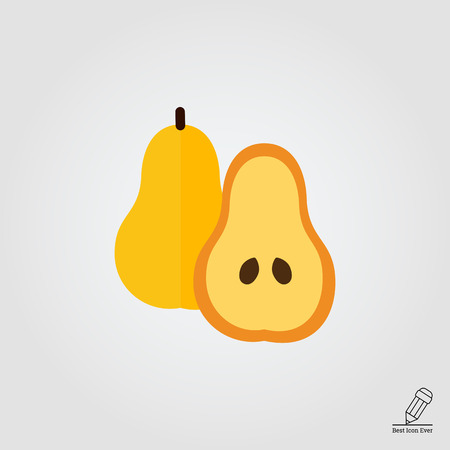 carbohydrate: Vector icon of pear and cut pear half Illustration
