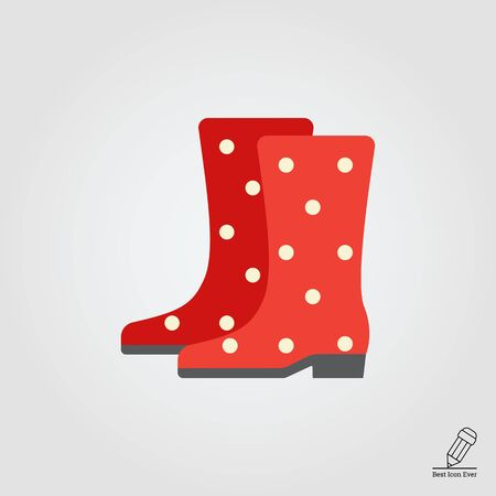 dotted: Vector icon of red dotted rubber boots