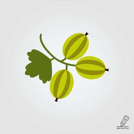 rational: Vector icon of ripe green gooseberry bunch Illustration