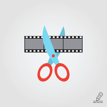 video icons: Vector icon of scissors cutting film shot