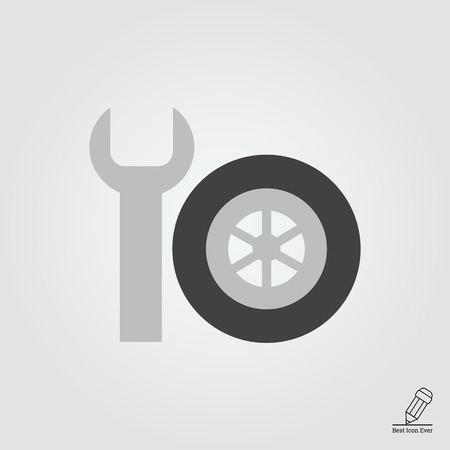 Vector icon of spanner and single car wheel