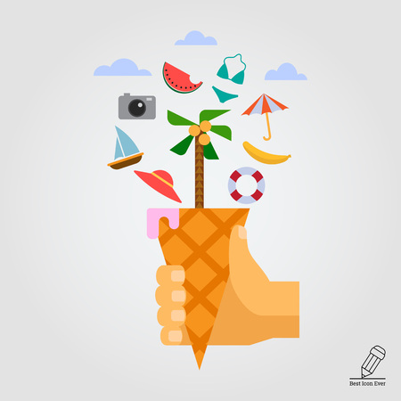 ring buoy: Vector icon of vacation concept including waffle cone with palm tree, beach umbrella, watermelon slice, camera, hat, life ring buoy Illustration