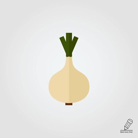 eco icon: Vector icon of whole white onion bulb with green sprouts