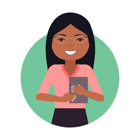 mujer trabajadora: personaje femenino, retrato de la empresaria estadounidense con tablet PC Vectores