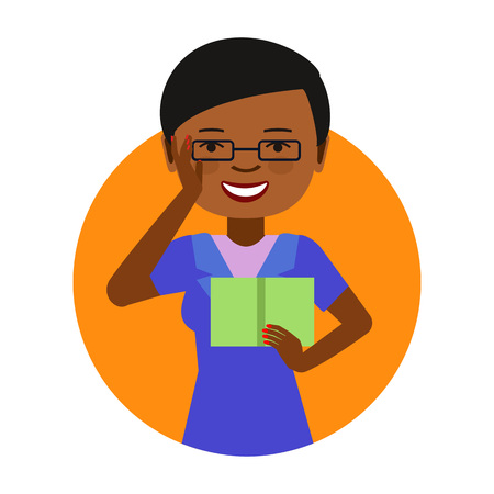 african woman face: Female character, portrait of young African American woman wearing glasses and reading book