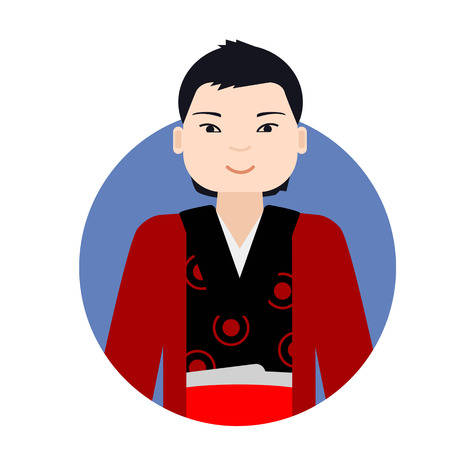 asian man smiling: Male character, portrait of smiling Asian man wearing traditional costume Illustration