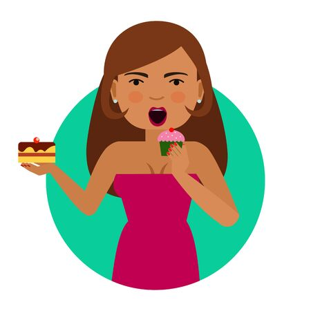 woman eating: Female character, portrait of young woman eating cupcake and holding cake Illustration