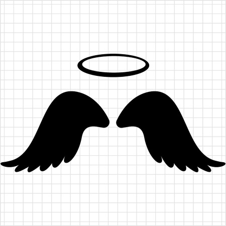 Vector icon of angel wings with halo