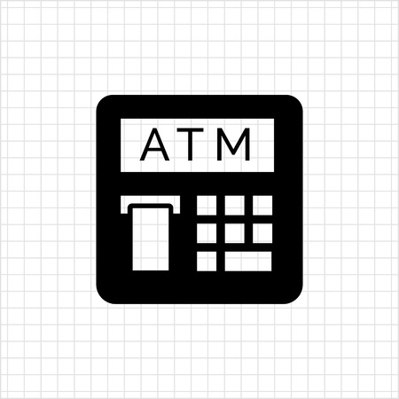 cashless: Vector icon of automatic teller machine with receipt