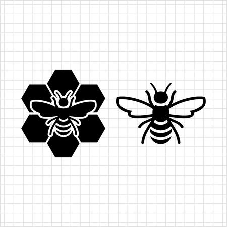 bees: Vector icon of bee and bee sitting on comb Illustration