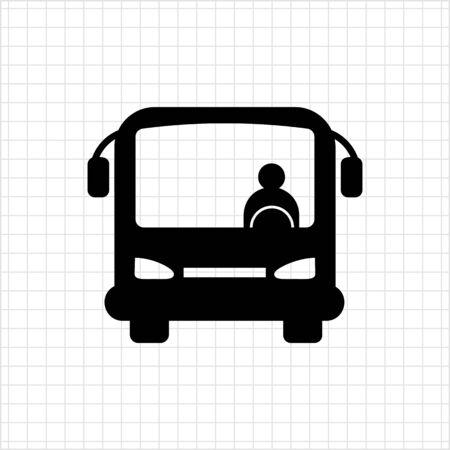 bus driver: Icono de autocares con chofer de autob�s, vista frontal