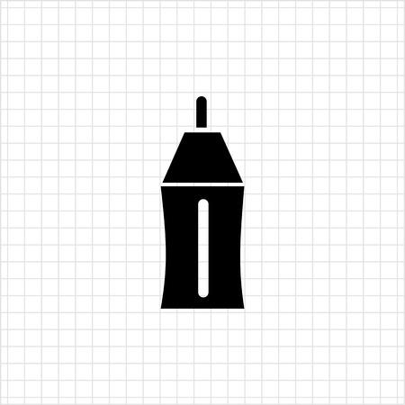 ball pens stationery: Icono del vector del bol�grafo parte superior y la punta