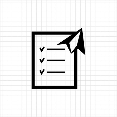 paper plane: Icon of checklist and paper plane Illustration