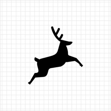 festive: Vector icon of jumping festive Christmas reindeer