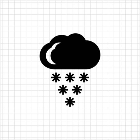 humidity: Icon of cloud and falling snowflakes