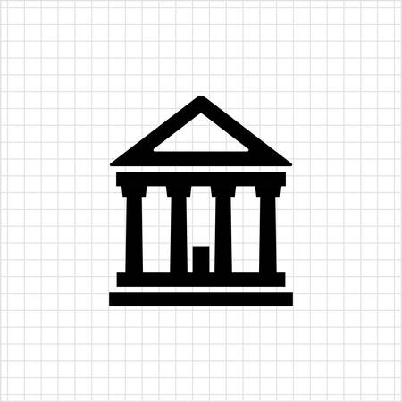court process: Icon of classic court building Illustration