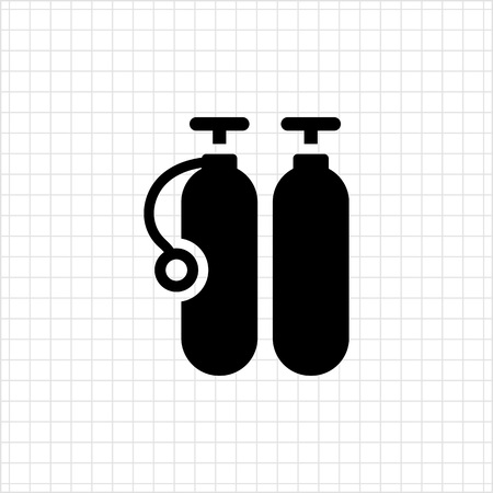 cylinders: Icon of two diving cylinders