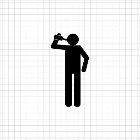 alcoholic: Vector icon of man silhouette holding bottle and drinking