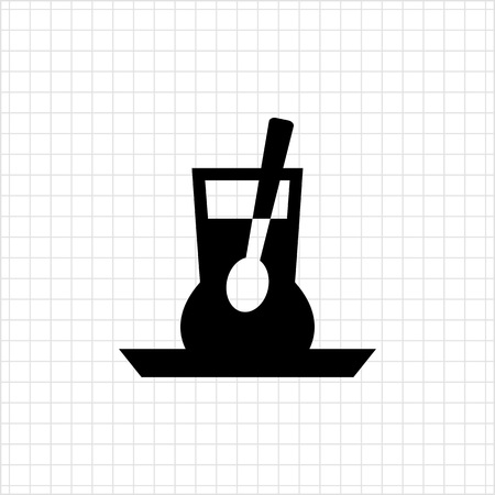 stirring: Vector icon of glass cup with liquid and spoon inside Illustration