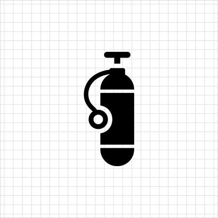 scuba diving: Icon of single scuba diving cylinder silhouette Stock Illustratie