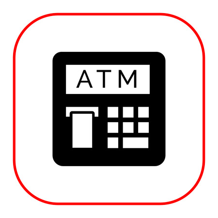 účtenka: Vector icon of automatic teller machine with receipt