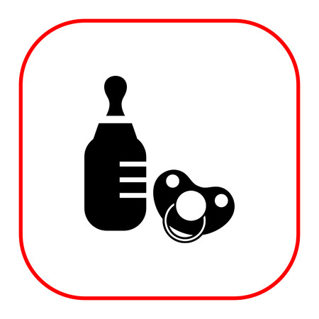 nursing bottle: Vector icon of baby bottle and pacifier